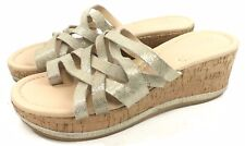 Donald J. Pilner Salma Cork Wedge Platform Gold Strappy Sandal Women Size 8 M