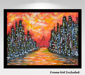 Mid-Century Modern Original Painting Cityscape Abstract Psychedelic MCM Atomic