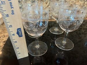 4 French Antique Fine Etched Clear Stemware Wheel Cut Wine Cocktail 🍸 Glasses
