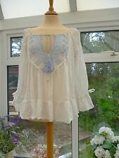 STUNNING *ODD MOLLY* WHITE EMBROIDERED BOHO PEASANT GYPSY TOP LACE TRIM 2 12/14