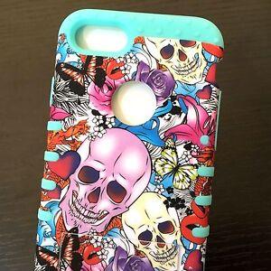 For iPhone 7 / 8 - HARD&SOFT Rubber Hybrid Armor Case Cover Skull Rose Butterfly