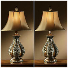 "TWO ANTIQUE STYLE 30"" RESIN GOLDEN BRONZE TABLE LAMP LARGE SILK SHADE LIGHTING"