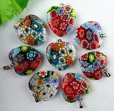 wholesale 8pcs Beautiful mixed colors heart millefiori pendant bead BC1191
