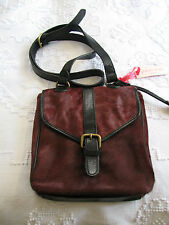 Gharani Strok BNWT Burgundy Pony Skin & Black  Leather New Unused Shoulder Bag