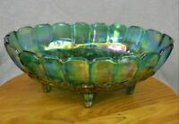 Vintage Iridescent Blue Indiana Carnival Glass Oval Fruit Bowl Footed