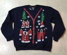 New Ugly Christmas Cardigan Sweater Santa Clothesline L Navy Tacky Sweatshirt