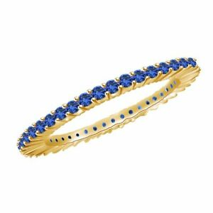 3/4Ct Round Blue Sapphire 18K Solid Yellow Gold Eternity Band Ring