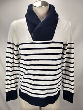 J Crew Shawl Collar Top Size Small Womens Navy Blue Stripe Long Sleeve Shirt