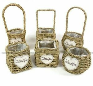 Hand Woven Basket for Flower Girl Wedding Accessories Durable Confetti Storage
