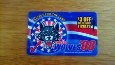"""HOTEL KEY CARD """"CHIGAGO WOLWES 2008"""" HOCKEY FAN"""