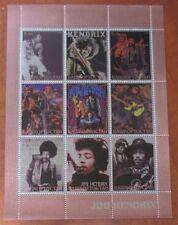 Jimi Hendrix 2000 Bashkortostan (Russia) Stamp Block Sheet; Red Foil Variation!
