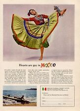 1964 Mexico National Tourism PRINT AD Senorita Mexican Native Dancer in Dress