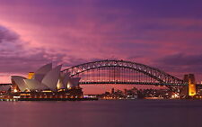 poster print  photo landscape art Sydney harbour Australia opera house sunset