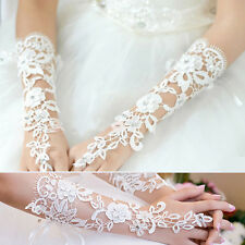 Beauty White Bridal Lace Flower Rhinestones Fingerless Gloves Wedding Party