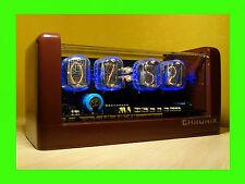 Nixie Clock 4xIN-12 tubes chocolate bronze case & alarm steampunk retro fallout