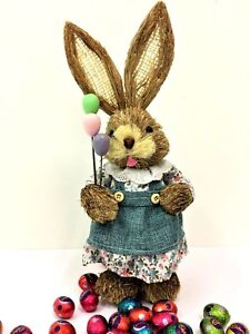 35cm STRAW RABBIT GIRL BALLOONS HOME DECORATION EASTER BUNNY STATUE ORNAMENT