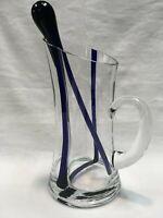 "VINTAGE CLEAR GLASS TO COBALT BLUE BAND MARTINI PITCHER W/COBALT STIRER 9.25""h"