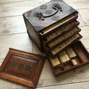 Antique mahjong tile, bone, bamboo back, tiered wood box, Taisho early Showa era