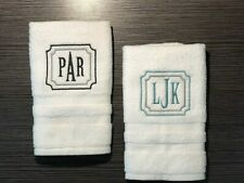 Custom Framed Monogram lightweight White Hand Towel