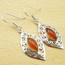 "925 Silver Plated Red CARNELIAN Celtic Earrings Pair 1 7/8 "" BESTSELLER"