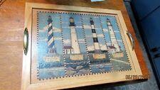 Wood Cork Tray New England Lighthouses Gold Handles Boston Harbor Bodie Portland