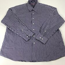 ALAN FLUSSER Men's Long Sleeve Button Front Shirt Striped Purple Size XL
