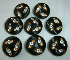 "8 Striking Vintage Black Art Deco Glass Buttons Inset w/Luster Rhinestones 5/8"""