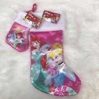 "NEW Disney Little Mermaid & Cinderella Christmas Stockings 18"" & 8"" NWT LOT of 2"
