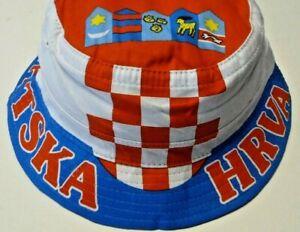 New Croatia Hrvaatska flag country bucket hat national Croatian soccer sports