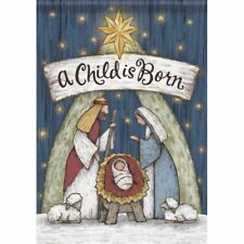 "WOOD CARVED NATIVITY GARDEN FLAG 12.5 X 18"" A CHILD IS BORN"