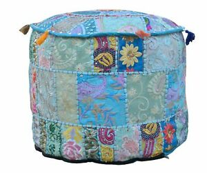 New Traditional Vintage Ottoman Pouf Cover Handmade Patchwork Round 14X18 Inch