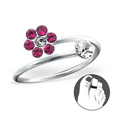 TJS 925 Sterling Silver Toe Ring Pink Clear CZ Flower Adjustable Body Jewellery