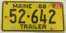 1968/69 MAINE Trailer License Plate #52-642