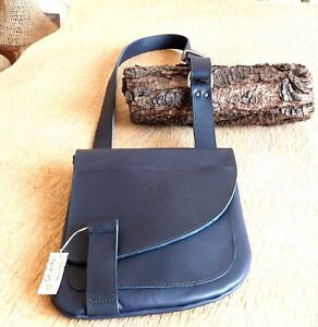BORSA borsello vera pelle cuoio tracolla fatta a mano leather bag !! 1804 blu