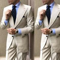 Light Khaki Men Suits Wide Peak Lapel Formal Office Party Groom Tuxedos 2 Pieces