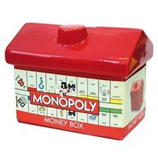 MONOPOLY RED CERAMIC HOTEL MONEY BOX RETRO BOARD GAME PIGGY BANK SAVINGS HOUSE