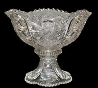 """Antique McKee Glass ca 1905 American Pres-Cut WILTEC Punch Bowl & Base Exc 14"""""""