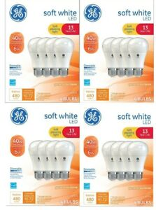 Lot of 4 Packs (16) NEW GE Dimmable LED A19 Light Bulbs Med Base 45W 13 Yr. Life