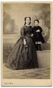 CDV Silli Nice Mother and daughter Original albumen photo 1860c France S892
