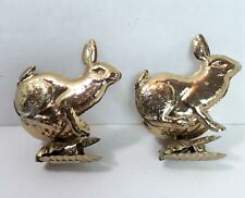 2 Gold Tone Metal Bunny Rabbit Clip On Christmas Tree Candle Holder Clamps *204