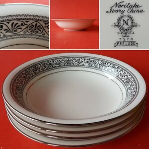 4 Noritake Ivory China 7570 PRELUDE Coupe Soup Bowls. Black Filigree w/ Platinum