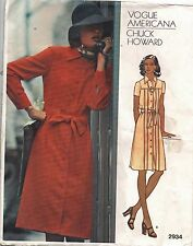 Vogue Sewing Pattern Chuck Howard Dress #2934 Front-Button Down Size 8 UC