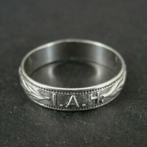 Uncas Ring Silver I Am His I.A.H Wreath Vintage Band Sterling 925 Size 4.5