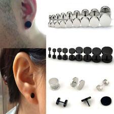 Punk Gothic Black Barbell Stainless Steel Stud Earrings Men Women Jewelry