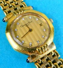 Gold Plated Lady's Wristwatch Diamonds Cabochon Sapphires Christian Dior C 1970
