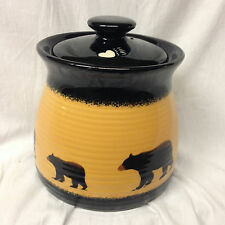 "BIG SKY CARVERS BRUSHWERKS BEAR MEDIUM CANISTER & LID 6 5/8"" BLACK & YELLOW"