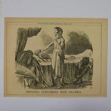 """7x10"""" punch cartoon 1865 britannia sympathises with columbia"""
