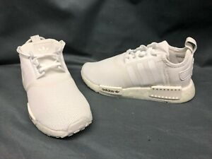 Adidas NMD_R1 C Athletic Sneakers Mesh White White Boys Size 1 NEW!