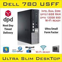 Dell Optiplex780 USFF Intel Dual Core up to 8GB RAM 1TB HDD/120SSD Win-10p Wi-Fi