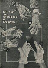 Vintage Crochet & Knitting Pattern Lady's & Girl' Gloves